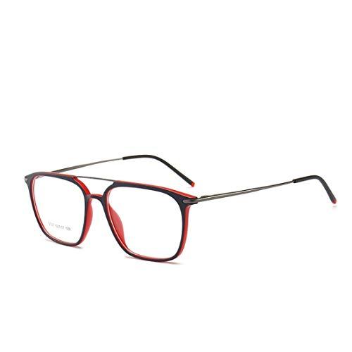Sakuldes Quadratischer Brillenrahmen, doppelte Nasenbrille, Nicht verschreibungspflichtige Brille für Damen und Herren rot