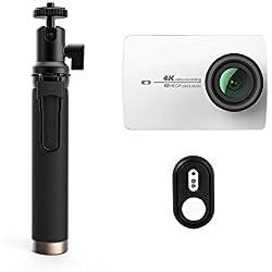 YI Action Camera 4k con Bastone Selfie & Telecomando Bluetooth, Videocamera Action Cam HD 4K / 30 fps, 1080p / 120 fps, Fotocamera Digitale 12 MP, Wifi (Bianco)