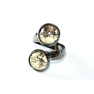 Vintage Weltkarte ♥ Handmade Doppel Ring gunmetal schwarz, größenverstellbar, 12mm, handmade