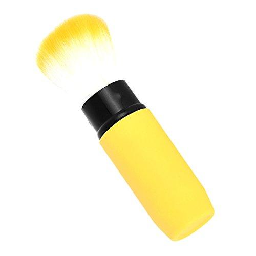 Sharplace Brosse de Maquillage Rétractable pour Poudre Crème de Fondation Pinceau Fond de Teint - Jaune