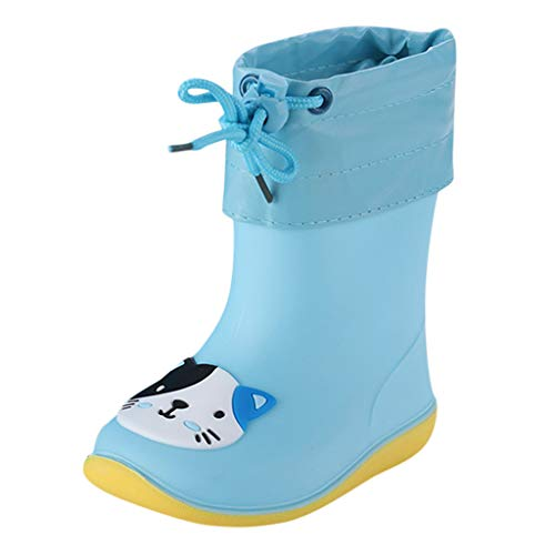 Rain Boots Kids Toddler Wellies Wellington with Drawstring Soft PVC Rubber Sole Rain Boots Cartoon Animals Waterproof Non-Slip Rain Boots Summer for Baby Girls Boys