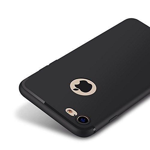 Schwarz matte iPhone 7 Silikonhülle (4,7 Zoll) mit integriertem Staubschutz Ultra-Slim (0,5mm dicke) - 3