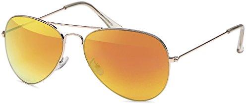 MOKIES Unisex Sonnenbrillen - UV400 Filterkategorie 3 CE Kennzeichnung - Pilotenbrille Fliegerbrille - Polycarbonat - Edelstahl - 504 rot