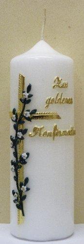 handverzierte Stumpenkerze \'\'Zur goldenen Konfirmation\'\' * Kreuz mit weißen Blumen * 6 x 18 cm (Motiv #020)