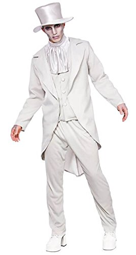 Ghastly Ghost Groom Mens Halloween Fancy Dress Costume Sizes (Erwachsene Ghost Groom Kostüme)