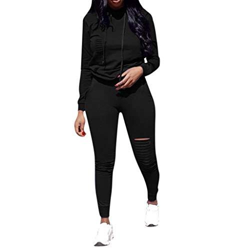 Sexy Suit Donna,Sasstaids❀ Maglione con Cappuccio + Pantaloni della Tuta, Hole Pocket Moda Donna Manica Lunga con Cappuccio con Coulisse Pantaloni Larghi Tops Set