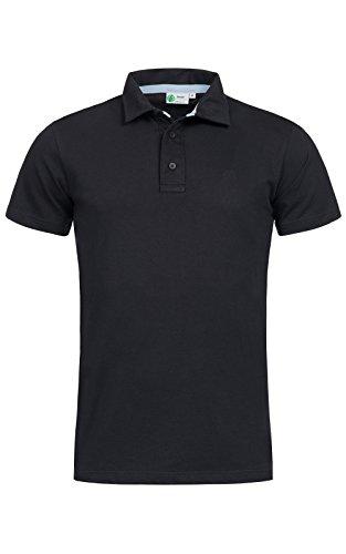 Banqert Herren Polo, Faire Löhne, Made in Mauritius Poloshirt-s Polohemd-en Funktionsshirt Männer Shirt-s Kurzarm einfarbig-e Hemd-en Schwarz L -