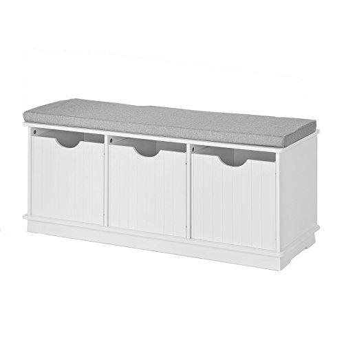 SoBuy® Spielzeugkiste, Spieltruhe, Sitzbank mit Sitzkissen, FSR30-W