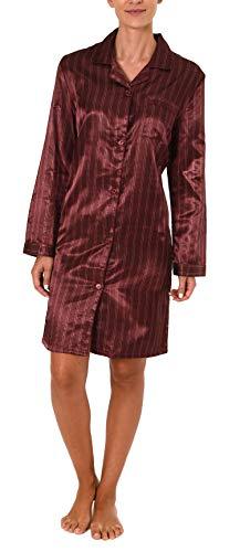 Satin Nachthemd mit Langen Ärmeln, durchgeknöpft - 61511, Farbe:Bordeaux, Größe2:44/46