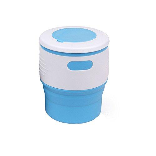Berrose tragbar Umweltschutz Falten Kaffeetasse 350ML Aufbewahrungssilikon-einziehbare Tasse Wiederverwendbare Klappbar Becher Faltende mit Deckel für Reisen Camping Picknick Outdoor Sports