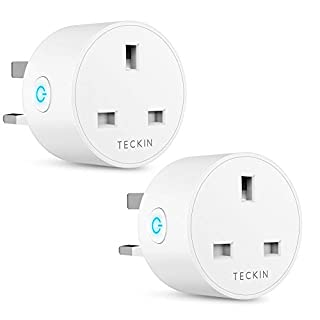 Smart Plug WiFi Outlet TECKIN Mini Plug Works with Amazon Alexa, Google Home and IFTTT, Wireless Smart Socket Remote Control Timer Plug Switch, No Hub Required 2 Pack