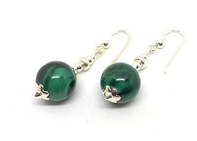 Boucles d'oreilles en argent et malachite, perle de 12 mm