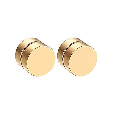 Contever® 1 Paires Magnetic Black Circle Stud Boucles D'oreilles Pour Hommes Femmes Non-Piercing Clip On Ear Plugs Faux Gauge Diamètre 8MM - D'or