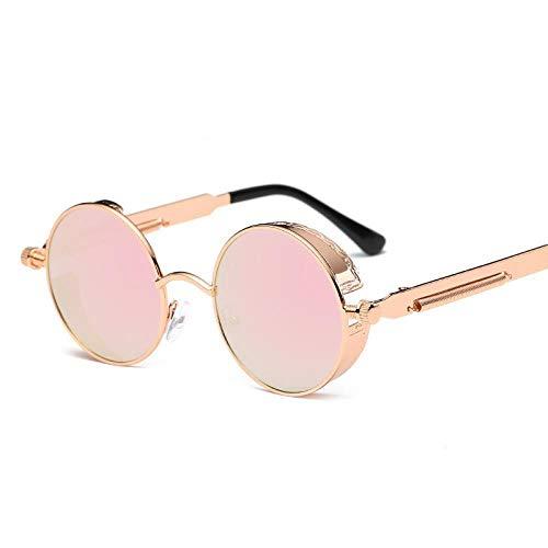 Ahan outdoor Retro Sonnenbrillen Metallic Sonnenbrillen Round Frame Punk Herren und Damen, Rose Gold Frame Barbie Powder, A01-2-6631