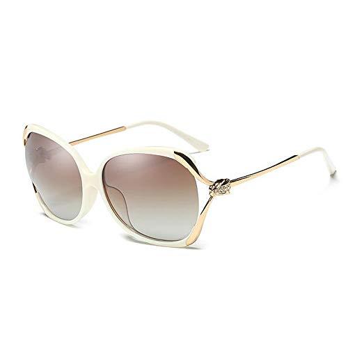 LYQZ Polarisierte Sonnenbrille Weibliche Runde Gesicht Großen Rahmen Openwork Strass Mode Elegant Fahren Sonnenbrille (Farbe : Beige)
