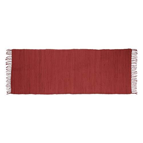Relaxdays-Alfombra de Corredor con Flecos Rojo 80x 200cm 100% algodón Uni Alfombra de salón...
