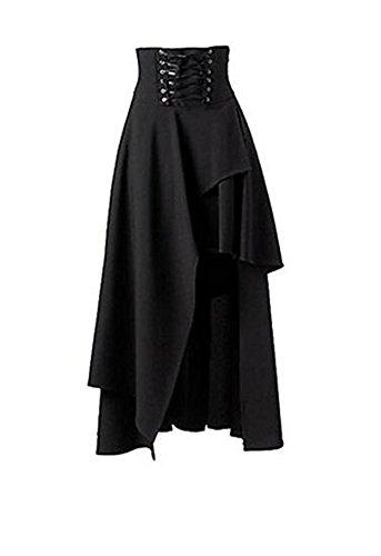 Falda negra estilo gótico, punk, con banda en la cintura, corta por delante y larga por detrás, para mujer; de Taiduosheng Negro negro 0