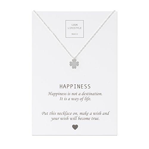 LUUK LIFESTYLE Collar de acero inoxidable con colgante de trébol de cuatro hojas y cita Happiness, joya de mujer, tarjeta de regalo, amuleto, plata