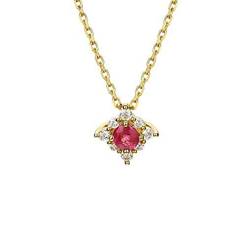 YOLANDE Damen 9k Gelbgold Halskette Geschenke Juli Birthstone Red Ruby Halskette Sterling Silber Anhänger Schmuck Geburtstag Geburtstagsgeschenk für Frauen