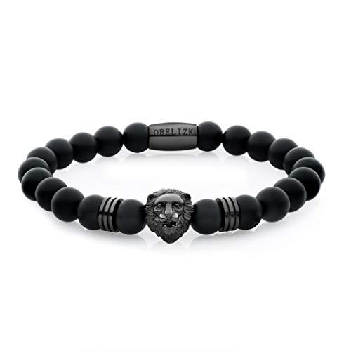 Obelizk Exklusiv Lion Armband für Männer (Black Edition)| Löwenkopf Bracelet mit schwarzen Perlen|Geschenk Schmuckbox+ Luxury Accessories Guide