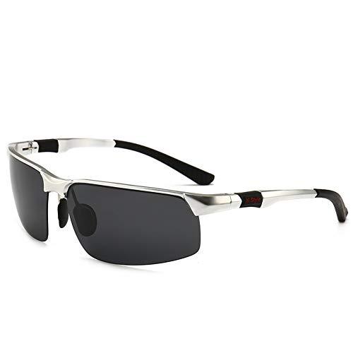 LLQ Reitbrille, die Aluminium-Magnesium-polarisierte Sonnenbrille für Herren trägt, silberne graue Tabletten