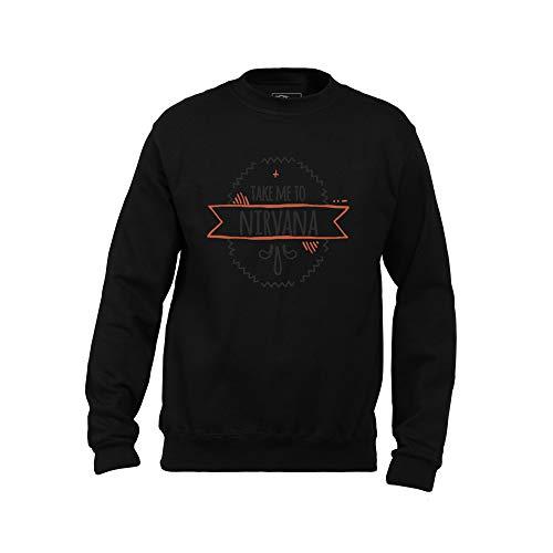 Wild Soul Tees, Sudadera para Hombres, llévame a Nirvana | Diseño de Letras gráficas | Logotipo | Ropa | Línea de Ropa Negro Negro (S