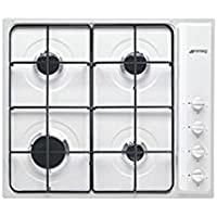 Smeg S64SB Integrado Encimera de gas Blanco hobs - Placa (Integrado, Encimera de gas, Acero inoxidable, Blanco, Esmaltado, 1050 W)