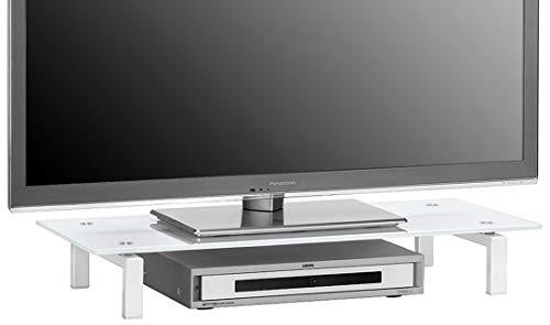 MAJA-Möbel 1603 9476 TV-Board, Metall weiß - Weißglas, Abmessungen BxHxT: 82 x 12,5 x 35 cm