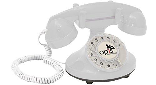 OPIS FunkyFon cable: Teléfono telefono fijo retro con disco de marcar en el estilo sinuoso de la década de 1920, con timbre electrónico moderno (blanco)