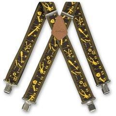 Brimarc Herren Hosenträger für Arbeitsbekleidung, Design Maßband und Werkzeuge, 50mm breit, Schwarz (Hosenträger Maßband)