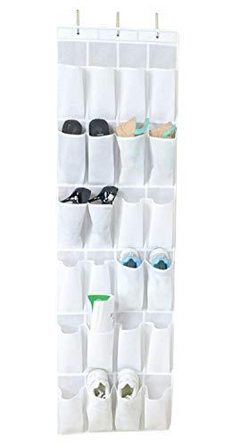 Bekith organizer da appendere alla porta, con 24 tasche, per custodire scarpe, a metà fra una borsa e una scarpiera, colore bianco