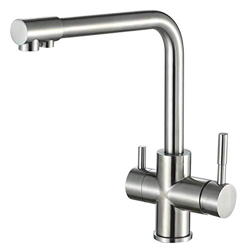 snowballing 3-Way Water Filter Kitchen Tap 360 ° Rotation Brass Kitchen Tap 2 Lever Mixer Sink Tap Sink Tap Fitting for Osmosis System Drinking Water System, Black, Brushed Nickel -