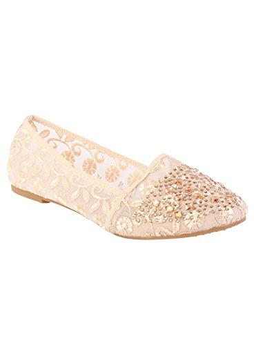 Femme-Ballerine Poupée Loafers plats pour chaussures à enfiler Chaussures d'été Beige - beige