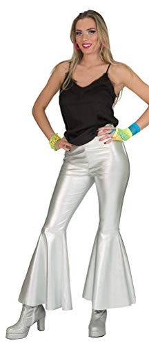 Disco Fever 70er Kinder Jahre Kostüm - Karneval-Klamotten Disco Kostüm Damen 70er Jahre Hose Damen Disco Hose Disco Fever Kostüm Silber Größe 40/42