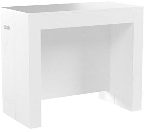 Mobili Fiver, Konsolentisch zum Ausziehen mit Verlängerungen, Easy, weißer Esche, 45 x 90 x 76 cm