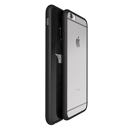 OnPrim Superior Ultra Thin Slim Fit Clear Frame Hybrid Flexbile TPU Case With Tempered Glass Film For iPhone 6 6s Plus 5.5 Inth Black