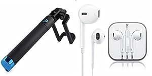GENERIC Headset & Selfie Stick for PANASONIC P6 1 (Black Selfie Stick & Apple Iphone Headset | Earphone with mic | Earphones | Handsfree With Mic | Calling | Enjoy Music, 3.5mm Jack)