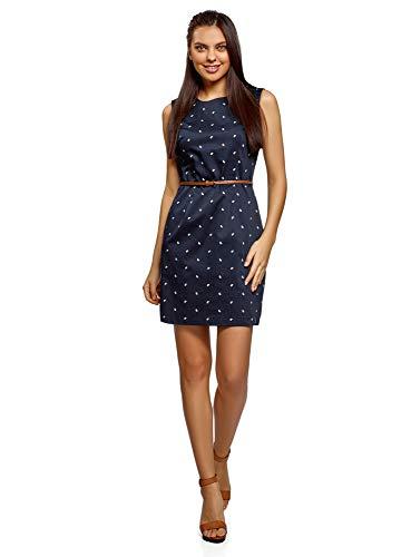 oodji Ultra Damen Tailliertes Ärmelloses Kleid, Blau, DE 42 / EU 44 / XL -