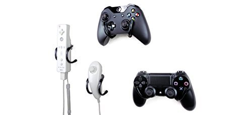 Wall Clip – Xbox, PlayStation, Wii, and Retro Game Controller Organizer – 4 Pack, Black 31YzzYVHN9L