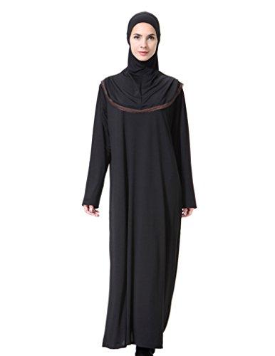 GladThink Donne musulmano Arabia del Medio Oriente Maxi Vestito con Hijab Caffè