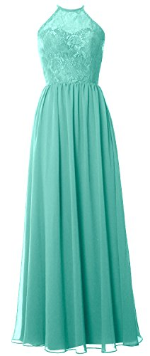 MACloth Women Halter Long Bridesmaid Dress 2017 Lace Wedding Party Formal Gown Turquoise