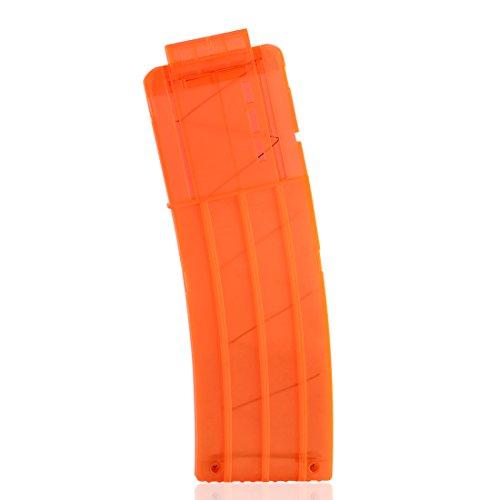 (LDB SHOP Clip Magazin,15 Bullets Frosting Soft Bullet Clip Magazin Dart Nerf Bullet Clips für Nerf N-Strike Elite-Serie - Transparentes Orange)