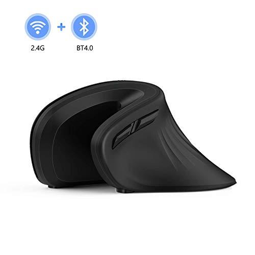 Jelly Comb Bluetooth + 2.4G Ergonomische Funkmaus, Dual-Modus Kabellose Vertikale USB Computermaus für PC, Laptop, MacBook, iPad, Android Tablet und Handy, Schwarz