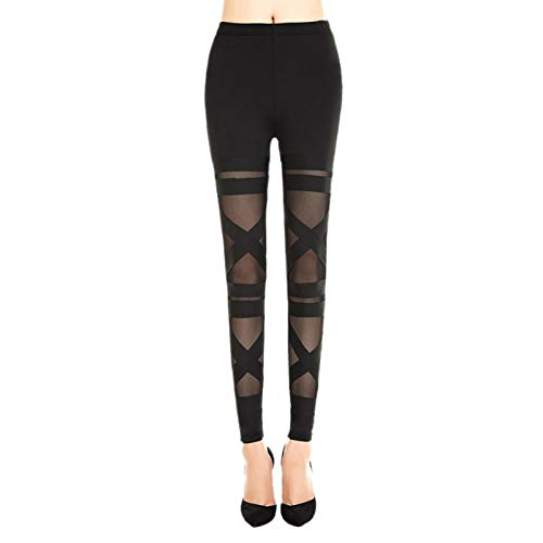 WSJDE Fashion Leggings Mesh Damen Leggins Punk Rock 2020 Sexy Halloween Gothic Legging Schlank Schwarz Elastic Bandage Femme Pants (Lego Rock Monster Kostüm)