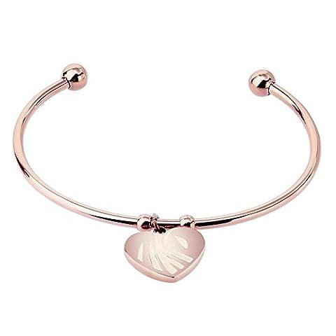 KnSam Stainless Steel Cuff Bracelets for Womens Heart Twist End