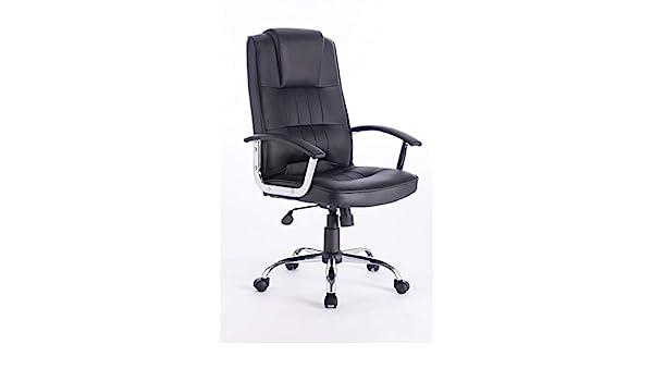 Executive Office Chair Faux Leather Black Boardroom Director Chrome Base Tilt