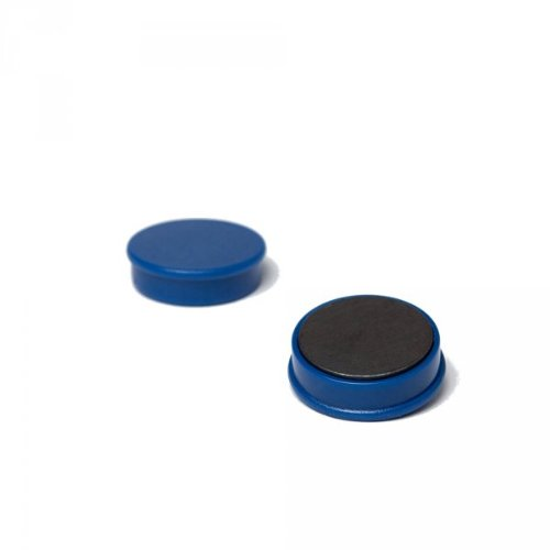 20 x Magnetpin 24x7 mm, Farbe: Blau, Büromagnet für Pinnwand, Whiteboard, Magnetwand