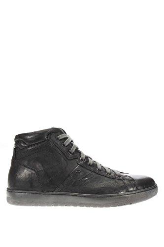 A604360U-100.Sneaker alta in pelle.Nero.41
