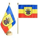 Flaggenfritze® Tischflagge Mecklenburg alt mit lackiertem Holzsockel