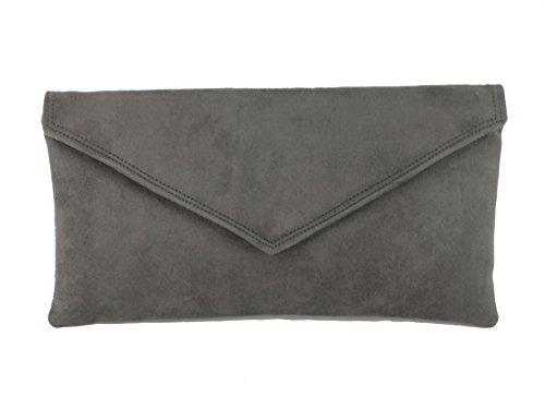 Loni Neat Umschlag Faux Wildleder Clutch Bag/Schultertasche in Elfenbein Anthrazit